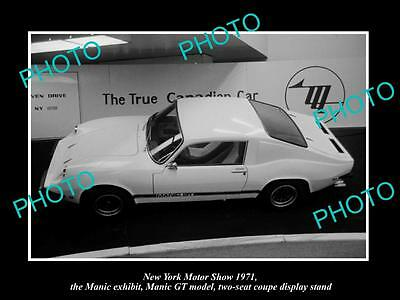 Old Historic Photo Of New York Motor Show 1971 Manic Gt Car Display