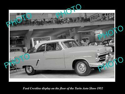 Old Large Historic Photo Of 1952 Ford Crestline Model Turin Motor Show Display