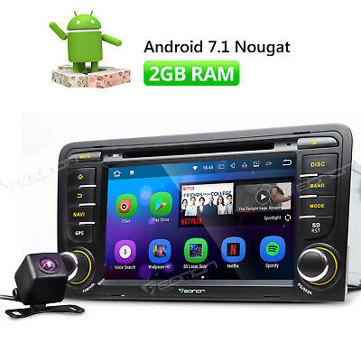"""7"""" Head Unit For Audi A3 S3 2004 2010 Android 7.1 Car Stereo GPS DVD + Camera E"""