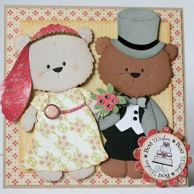 Lady Bear Clothes Metal Cutting Dies Diy Scrapbook Album Cards Stencil Template