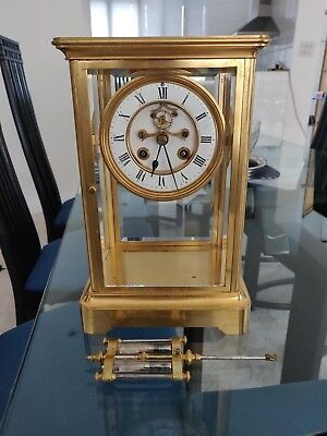 1880+  french 4 glass mantel clock by Tiffany & Co