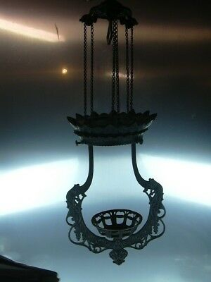 """Antique Cast  """"iron Horse"""" Pull Down Hanging Oil Lamp Frame"""