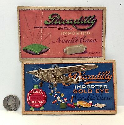 Antique/Vintage PICCADILLY Needle Book/Case airplane