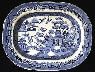 A good Mid 19th Century Staffordshire Blue & White Willow Pattern Meat Platter.