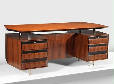 1970s Carlo Di Carli Mid Century Desk In Rosewood And Aluminium With Provenance