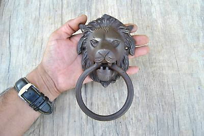 Vintage Victorian Lion Head Iron door gate Chest Ring Pull drop handle knocker
