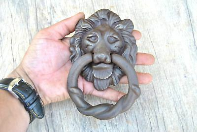 Vtg Victorian Lion Head Iron door gate Chest Ring Pull drop handle knocker