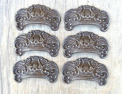 """6pcs vintage victorian cast iron CROWN cabinet drawer bin pull cup handle 3.5"""""""