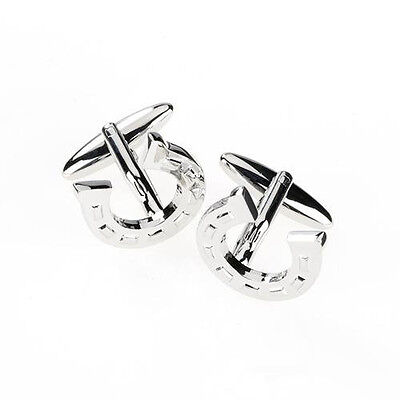 Horseshoe Cufflinks Stainless Steel Gift Lucky Wedding Mens Jewellery Horse Shoe