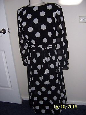 Vintage 80s Ursula of Switzerland Long Black  Dress with White Spots 12 to 14