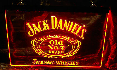 JACK DANIELS RED WHISKEY OLD No. 7 BAR BEER LED NEON LIGHT SIGN NEW