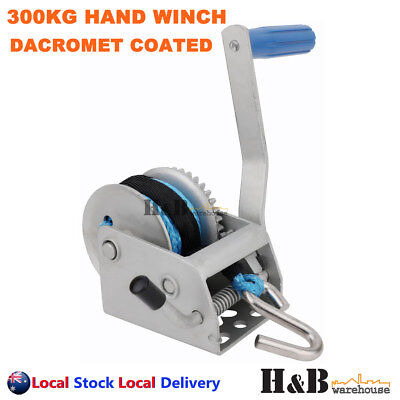 300KG 3:1 Hand Winch Dyneema Rope 4mm X 8M Winch Rope Marine Boat Trailer