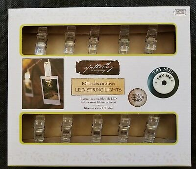 $30 Decorative String Lights 10 Feet of White LED Clips for Hanging NIB
