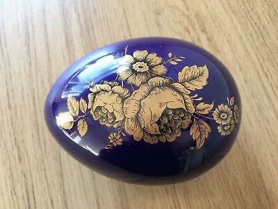 Vintage Lord Nelson Pottery Egg Trinket Dish With Lid, Cobalt Blue Colour