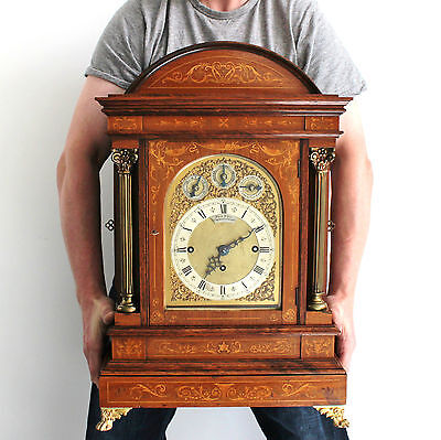 LENZKIRCH Style Mantel Clock German Antique 2 Melodies 9 Gong TRIPLE FUSEE Inlay