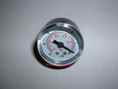 """40Mm Back Entry 1/8""""bspt Dry Vacuum Pressure Gauge 0 To -1 Bar Brass Dual Scale"""