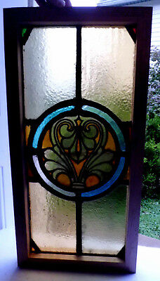 Antique Church Stained Glass Window Architectural Salvage Classical Roundel W21
