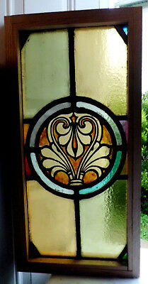 Antique Church Stained Glass Window Architectural Salvage Classical Roundel W22