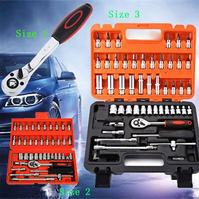 1/46/53pcs Car Automobile Motorcycle Auto Repair Tool Case Ratchet Wrench Kit US