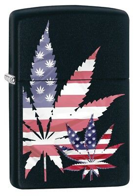 Zippo Lighter: American Flag Weed Leaf - Black Matte 79893