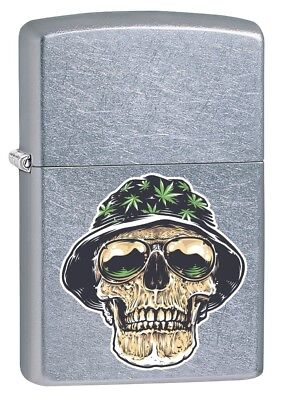 Zippo Lighter: Skull with Weed Leaf Hat - Street Chrome 79917