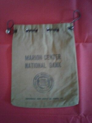 small vintage Canvas Bank Bag from Marion Center National Bank, Marion Ohio