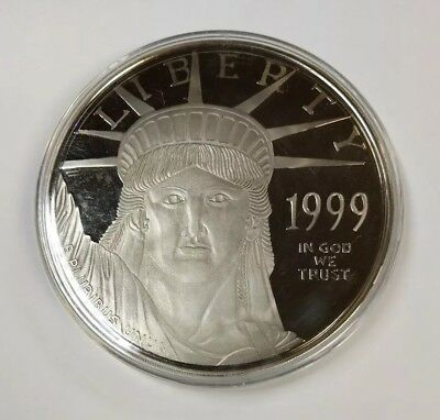 4 oz 999 Fine Silver Proof Round Statue of Liberty Platinum Covered in Capsule