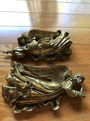 "Set of 2 gold Tone musician flying angel Christmas ornaments, 9""  long, 5""h"