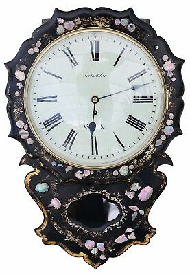 Antique rare Victorian mother of pearl inlaid single fusee wall clock 4861