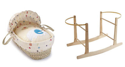 Brand new Clair de lune abc palm moses basket multi coloured with rocking stand