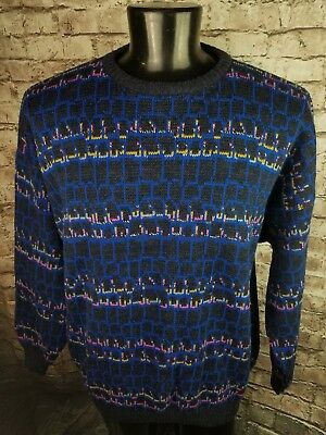 Mens VTG Coogi STYLE Reversible Colorful Bright Textured Sweater XL Italian