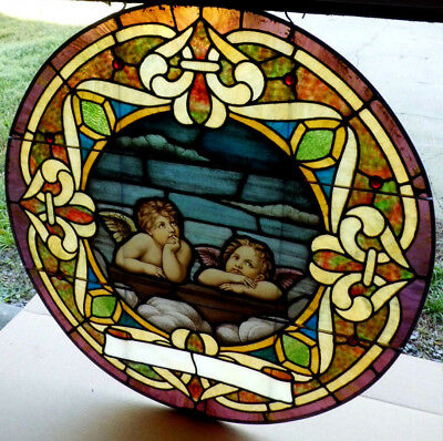 Lg Antique Church Stained Glass Window Architectural Salvage Sun Catcher Angels