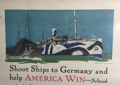 "Outstanding WWI war poster w/ ship building theme -- ""Shoot Ships to Germany""!!"