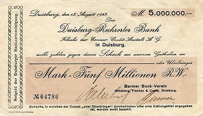 Duisburg, Ruhrorter Bank, Scheck 5 MIO Mark, Barmer Bank-Verein, 13. Aug. 1923.