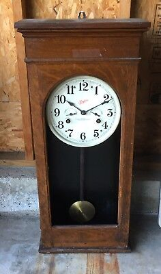"""35"""" Antique Simplex Wood Case Spring Drive Time Clock Cost Recorder"""