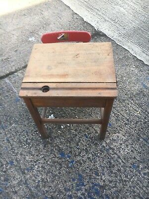 antique childs desk with ink well holder and chair