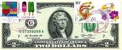 Money Us $2 Dollars 2013 Chicago Stamp Cancel Love Frozen Treats And Snoopy