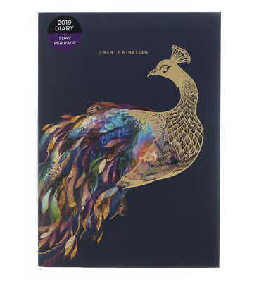 WHSmith 2019 A5 Foil Peacock Navy Diary Day to Page Case Bound
