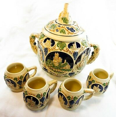 Germany Punch Bowl Gerz Castles On The Rhine With 4 Mugs - Stoneware Pottery
