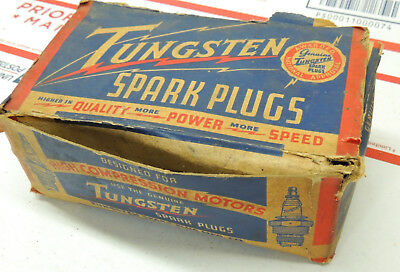 Vintage Tungsten Spark Plugs New Old Stock Lot of 10 with Display Box 1930s