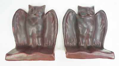 NM Vintage Van Briggle Art Pottery Owl Bookends - Mulberry And Blue - Set of 2