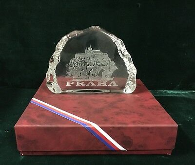 Prague Czech Republic etched and frosted crystal sculpture