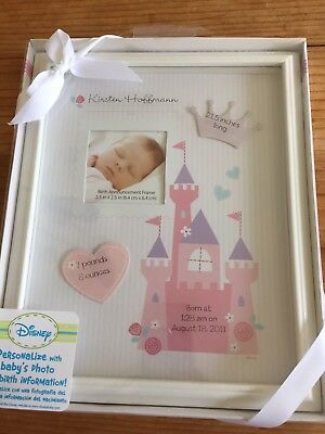 Disney Newborn Picture Frame Castle Baby Girl Announcement Pink  8 x 10 New