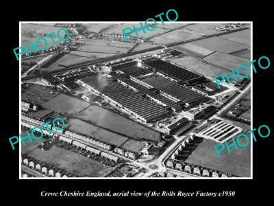 OLD LARGE HISTORIC PHOTO OF CREWE CHESHIRE ENGLAND, ROLLS ROYCE FACTORY c1950 2