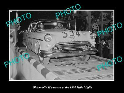 Old Large Historic Photo Of Oldsmobile 88 Race Car, Mille Maglia Rally 1954