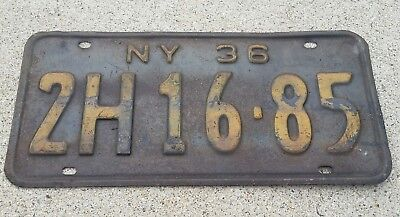Vintage 1936 New York License Plate Steel 2H 16,85 NY Rustic Man Cave Material