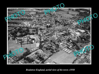 OLD LARGE HISTORIC PHOTO OF BRAINTREE ENGLAND, AERIAL VIEW OF THE TOWN c1950 2