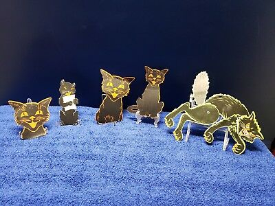 Vintage Halloween Beistle Jointed Scratch Cat Die Cut Decoration + 4 Others
