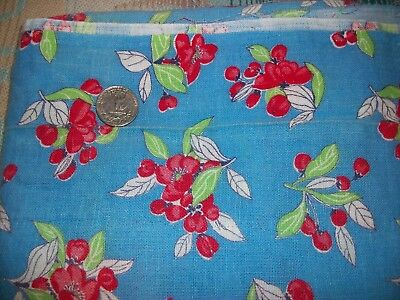 Vintage 40's Flour Feed Sack Cotton Fabric Blue Apple Blossom Leaves L Remnant
