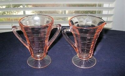 Pink Depression Glass Creamer/Sugar-Tea Room